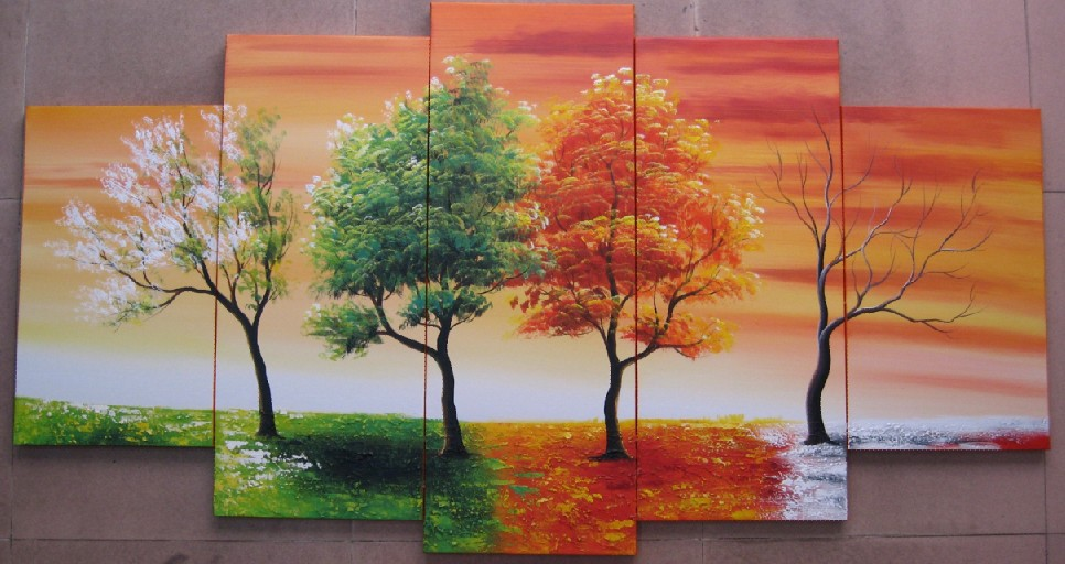 5103 handpainted 5 piece modern abstract oil painting on canvas wall art 4  season tree picture for living room home decor-in Painting & Calligraphy  from ...