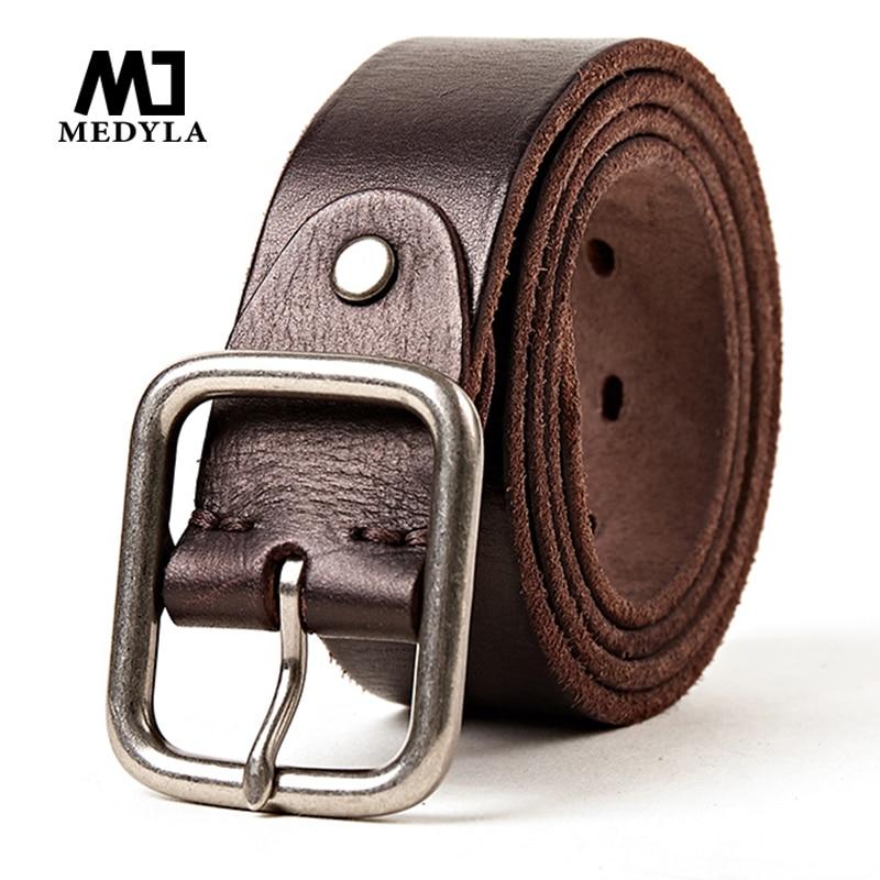MEDYLA New Men's Genuine Leather Belt Alloy Buckle Retro Design High-quality CowhideJeans Brand  Belt For Men MD605