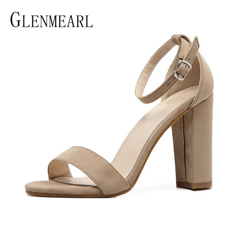 Suede Women Sandals Summer Shoes Woman  Thick Heels Casual Party Ankle Strap Dress Ladies Sandals Shoes Female Plus Size 34-43 casio aeq 100w 2a