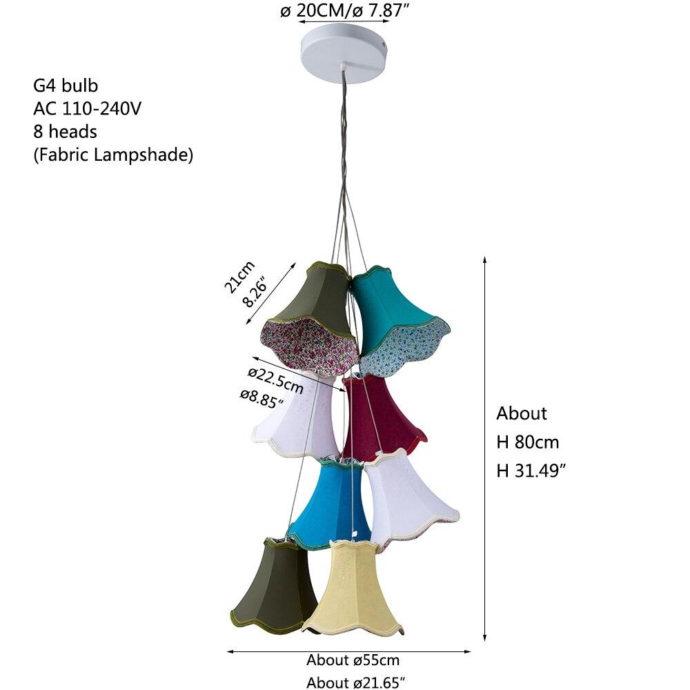 Moderne Cluster bunte stoff schatten G4 anhänger lampe lichter führte schnur/8 Köpfe DIY lichter schlafzimmer Mädchen kinder wohnzimmer zimmer - 3
