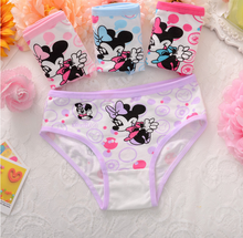 4pcs/set children's briefs cartoon mouse cotton Baby girl underwear lovely kids pants Infantis panties for nurseries toddler