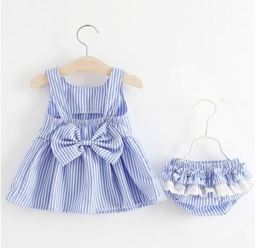 2PCS  infant Baby Girl clothes set Striped Bow Tutu Dress Tops+ stripes Shorts Summer Outfit set Clothes