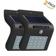 2 Pieces Motion Sensor LED Solar Power Path lamp Wall Light Outdoor lighting Garden waterproof porch Street  Sunlight Lamp big promotion 15 led solar power panel sensor wall street light waterproof outdoor garden path spotlight decoration lamp