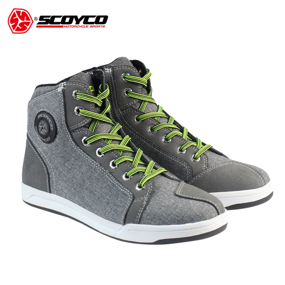 SCOYCO Motorcycle Boots Men Road Street Motorcycle Shoes Bato Motocross Boots Breathable Moto Protective Gear scoyco mbt002 motorcycle bicycle men s leather short boots black size 44
