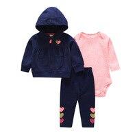 Cartered toddler Baby Girl Bodysuit Set 3pcs pack Hooded Long Sleeve Outwear+Short Sleeve Bodysuit+Pants