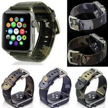 Nuevo camuflaje deportes al aire libre reloj banda de cuero genuino para apple watch 38/42mm