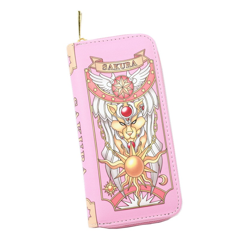New Arrival Carteira Sakura Card Captor Wallet The Clow Long Wallet Pink And Red Wine Color Women Purse Free Shipping anime card captor sakura the clow kero backpack girls shoulder bag pink cute travelling bag