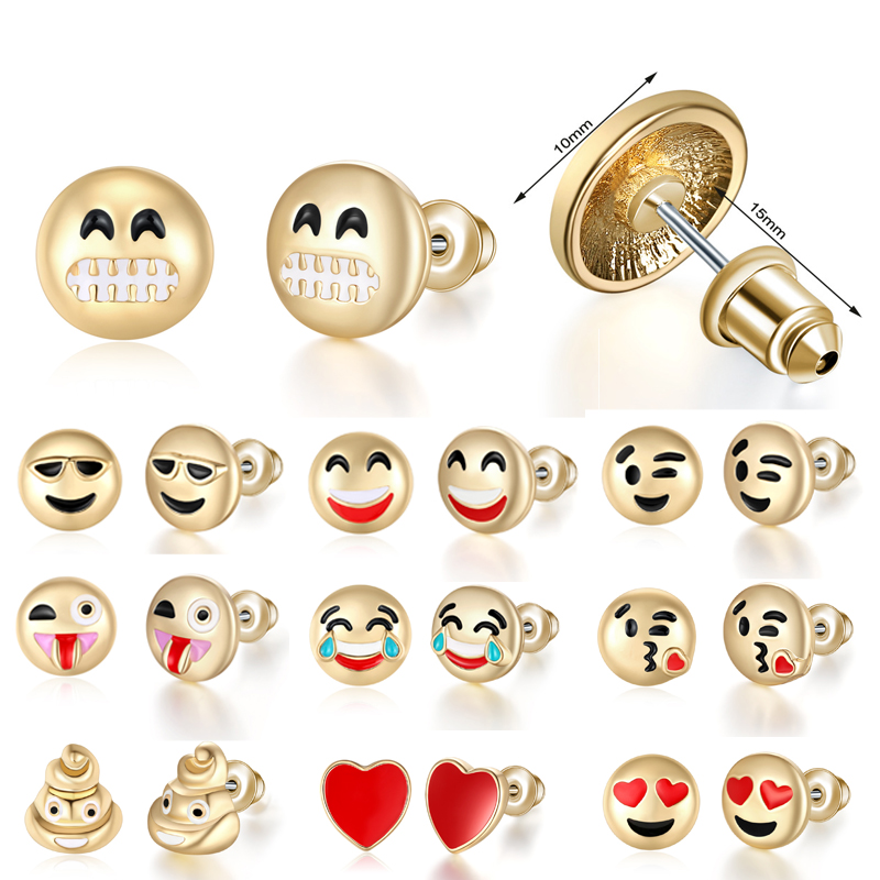 LNRRABC 2018 new Emoji Smile Gifts Cartoon Hot Sale Earrings Girls High Quality Drop Shipping Allergy Free Women Cute 1Pair New