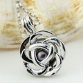 Free Shipping Romantic Rose Flower Silver Plated Locket Pendant Necklace Girls Pearl Necklace