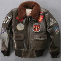 1b4f0e737eadb Avirex fly fur collar genuine leather jacket men brown thick sheepskin flight  jacket black men s winter
