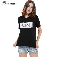 Hirsionsan Harajuku T Shirt Women Summer 2017 Punk Sequin ON OFF Funny T Shirt Casual Letter