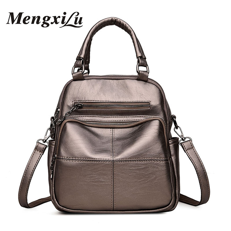 все цены на MENGXILU Women Backpack High Quality PU Leather School Bags For Teenagers Girls Backpacks Women 2018 New Patchwork Female Bags