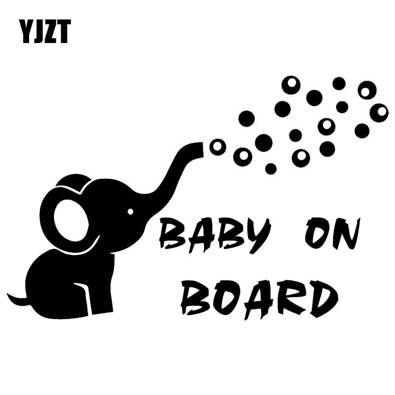 YJZT 16X10.4CM BABY ON BOARD Elephant Funny Car Sticker Decoration Bumper Trunk Decals C25-0245