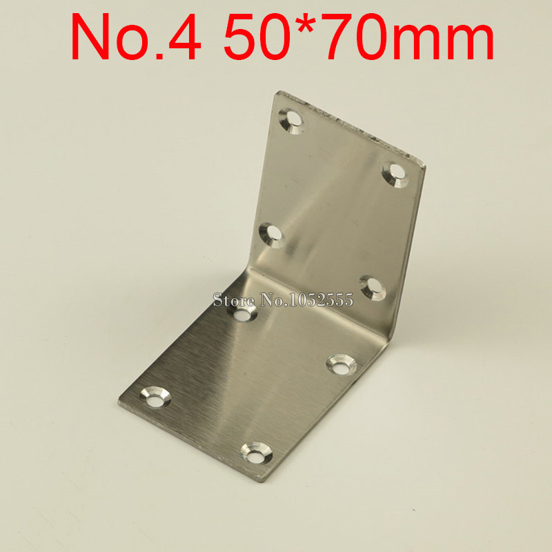 10PCS 50*70mm stainless steel furniture corners angle bracket L shape metal frame board support fastening fittings K274 10 pcs lot silver color metal corner brace right angle l shape bracket 20mm x 20mm home office furniture decoration accessories