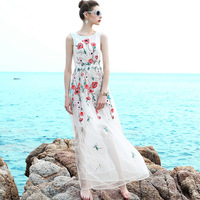 High Quality 2017 Runway Women White Tulle Flower Floral Embroidered Gauze Maxi Dresses Cute Elegant Slim