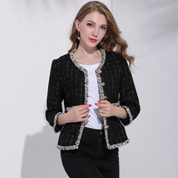 2018 Spring Autumn High Quality Star Style Plaid Wide Pocket Single Breasted Coat Women S All