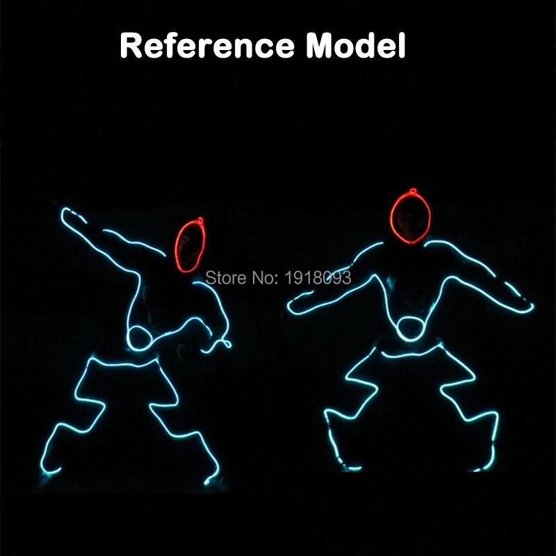 все цены на Fashion Cool Dance Talent Show LED light Clothes DIY EL Costumes LED Strip Suits Neon Cold Light Rave Costumes