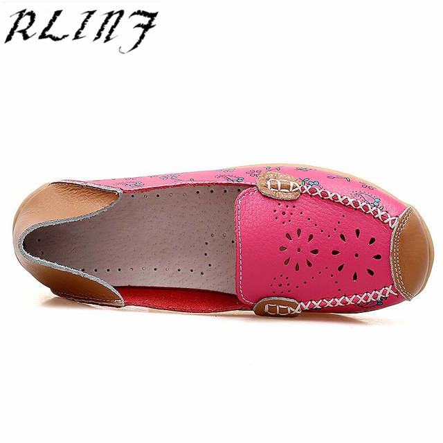 0d5f1129f Detail Feedback Questions about RLINF Leather Shoes Women Ballet Flats  Loafers Summer Moccasins Ladies Slip On Casual Flat Shoes Ballerina Blue  Zapatos ...