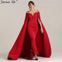 Élégant Illusion Retour Rouge Longue Robes De Soirée avec Châle Cristal Perlé Sirène Robe De Bal Parti Robe De Soirée Arabe Robes