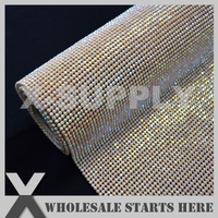 3mm Hot Fix Resin Plastic Rhinestone Mesh Sheet Ivory AB In Gold Base Used For Table