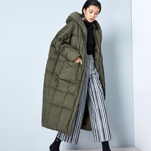 BC042 New Arrival Winter 2016 women casual loose cocoon coat thick x long hooded white duck down jacket