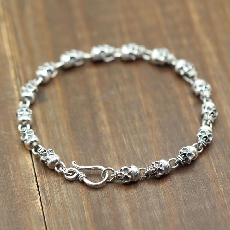925 Sterling silver skeleton skull chain link Bracelets for Men Women Real Pure Silver Punk Vintage
