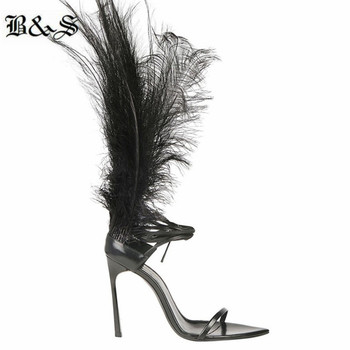 personalize real feather high T stage fashion ladies sandals handmade customized cross strap open toe high heel sandals