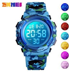 SKMEI Clock Children Watch Stop Military Girls Electronic Waterproof Kids Boys 50M Digital