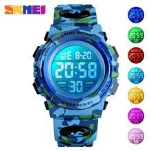 SKMEI-relojes deportivos militares para niños, de 50M electrónico cronógrafo de pulsera resistente al agua, reloj Digital para niños y niñas