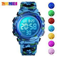 SKMEI Military Kids Sport zegarki 50M wodoodporny elektroniczny zegarek na rękę Stop Watch zegar cyfrowy zegarek dla dzieci dla chłopców dziewcząt tanie tanio Moda casual Z tworzywa sztucznego 5Bar Klamra 23cm 1548 ROUND Żywica 14mm Nie pakiet 16mm 38mm Repeater Luminous Auto data