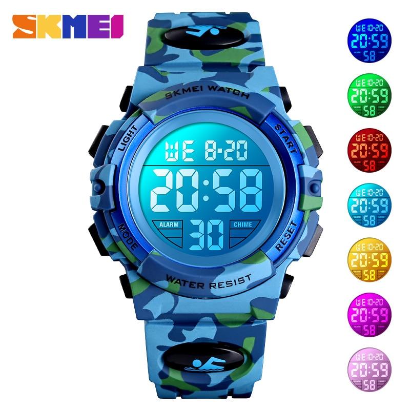 Skmei relógio digital eletrônico para crianças, relógio militar esportivo à prova dágua de 50 m para crianças meninos, meninas, pulseira de relógio infantil