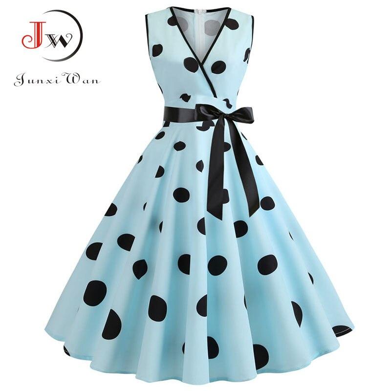 Women 2019 Summer Polka Dot Vintage Dress Sexy Deep V Neck Sleeveless Party Sundress Elegant Casual Belt Beach Dress Plus Size