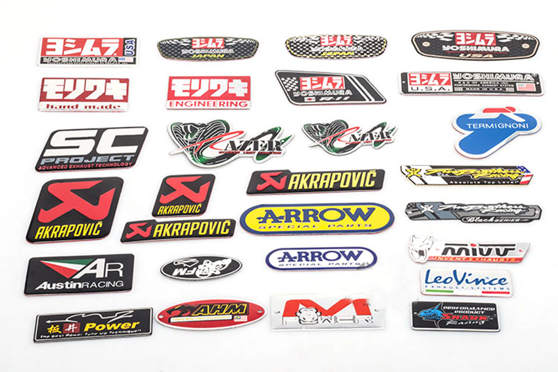 TKOSM 3D Aluminum Heat-resistant Motorcycle Exhaust Pipe Decal Sticker For Yoshimura Akrapovic MIVV Leovince Two Brother Arrow