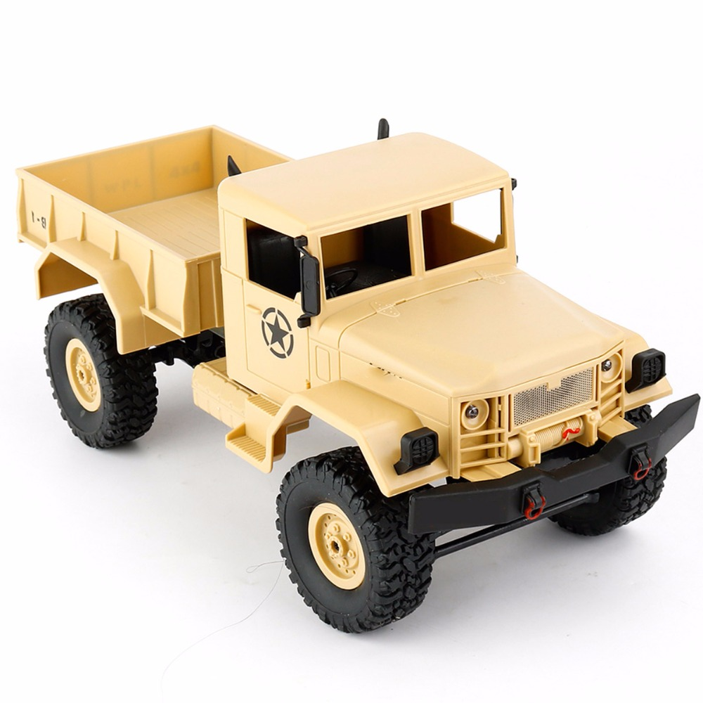 WPL B1 Mini Off-Road RC Military Truck 1:16 Crawler Car with Light Bright LED RTR Toy Drive Metal Remote Control RC Toy Cars remote control 1 32 detachable rc trailer truck toy with light and sounds car