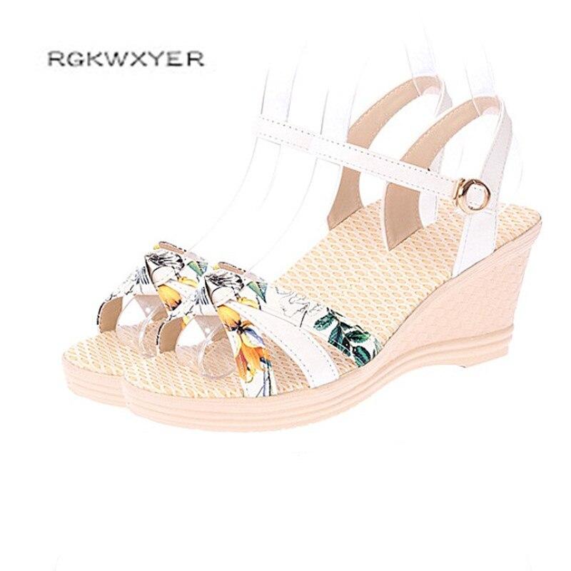 100% Wahr Rgkwxyer Neue Farbe Passenden Druck Dicken Boden Frauen Sandalen Sexy Fisch Mund Keile Schuhe Freizeit Mode Joker Frauen Schuhe