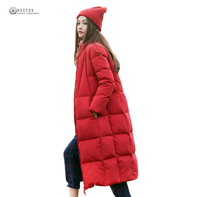 2019 New Arrival Women Winter Down Coat Solid Color Stand Collar Warm Outerwear Female Winter Coat X-Long Slim Down Jacket OK939