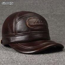 SILOQIN מתכוונן גודל גברים של 100% אמיתי עור כובע חורף חם בייסבול כובעי עם מחממי אוזני עור פרה עור מותג כובע עבור גברים