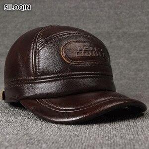 Image 1 - SILOQIN 調整可能なサイズのメンズ 100% 本革キャップ冬暖かい野球イヤーマフ牛革革帽子とキャップ男性