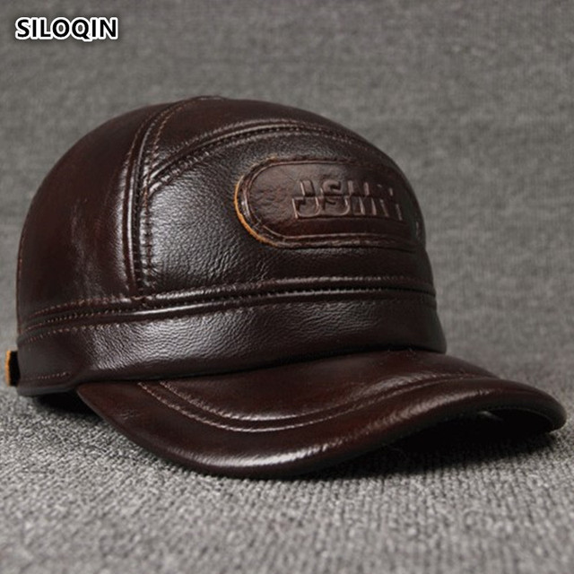 SILOQIN 調整可能なサイズのメンズ 100% 本革キャップ冬暖かい野球イヤーマフ牛革革帽子とキャップ男性