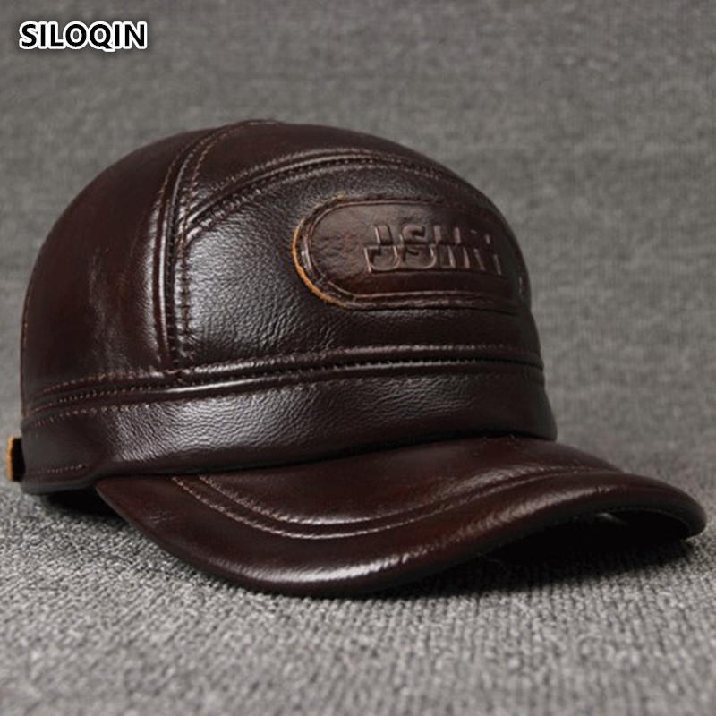 SILOQIN Adjustable Size Men's 100% Genuine Leather   Cap   Winter Warm   Baseball     Caps   With Earmuffs Cowhide Leather Brand Hat for Men