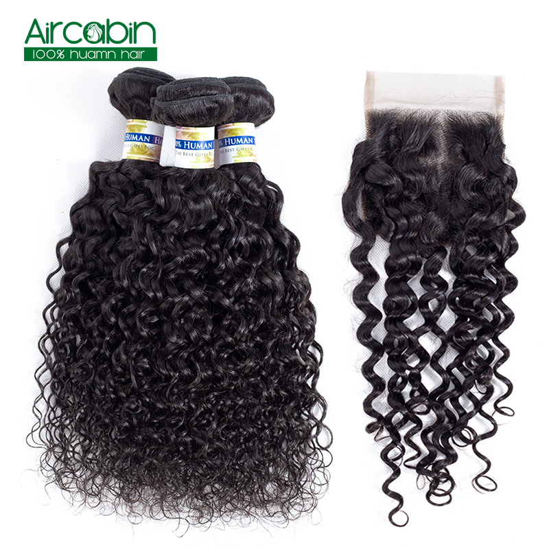 Brazilian Human Hair 3 Bundles With Closure AirCabin Water Wave Bundles With Lace Closure Remy Hair Extension Natural Black