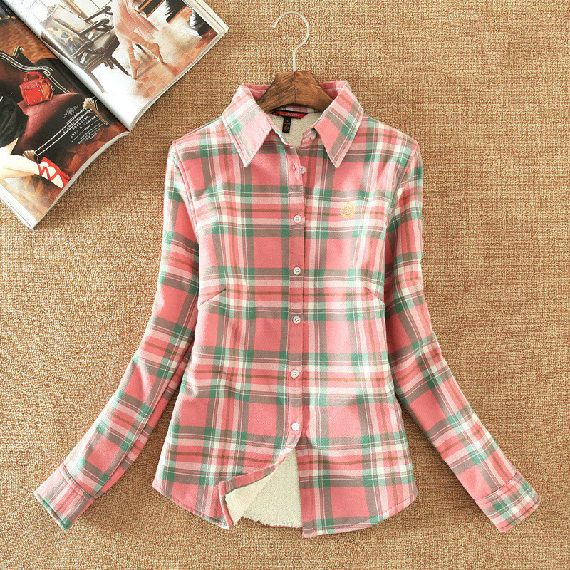 Tops Blouse Plaid Shirt windbreaker Women Colorful Long Sleeve Cotton Shirt Ladies coats bomber   jacket   coat casaco   basic     jackets