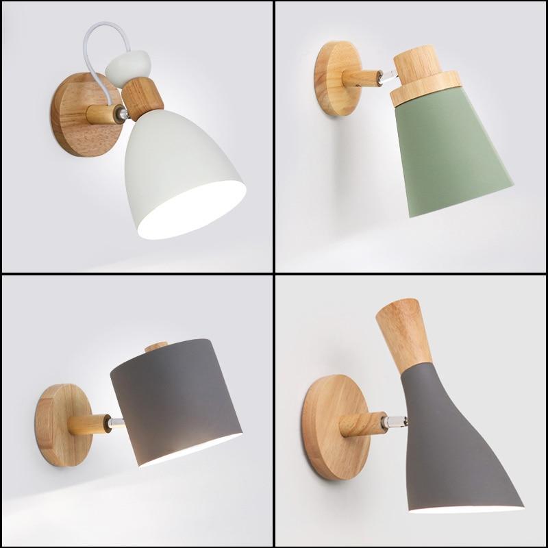 Nordic Minimalist Solid Wood Cartoon Wall Lamp Modern Creative LED E27 Wall Light For Bedroom Bedside Restaurant Coffee Bar