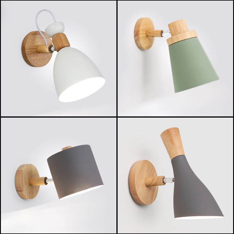 LED Wall Lamps for Living Room Wall Sconces Wall Light E27 Nordic Wooden Belt Colorful Wall Lamp for Restaurant Coffee Bar