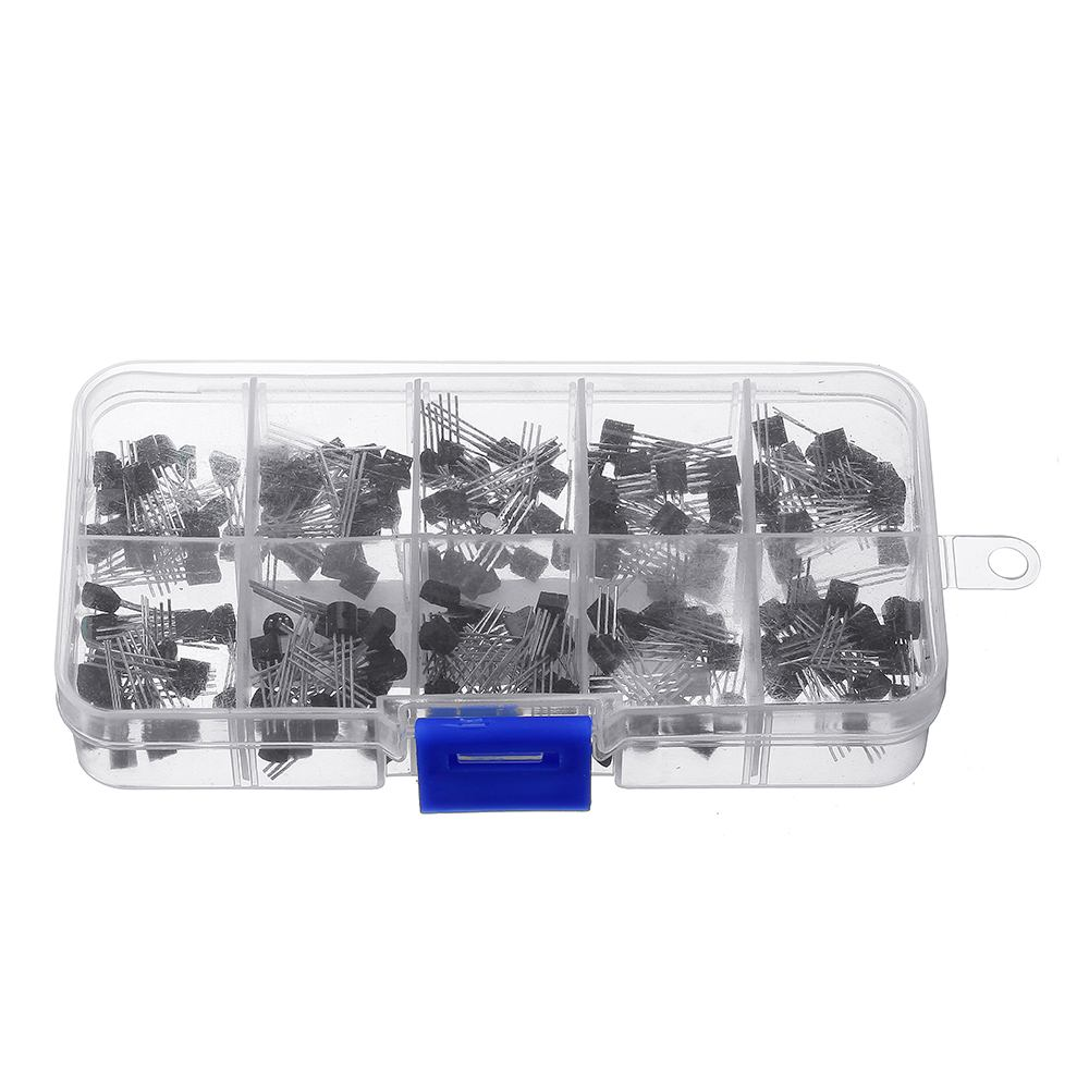 200Pcs Transistor Assortment Kit <font><b>BC337</b></font> <font><b>BC327</b></font> 2N2222 2N2907 2N3904 2N3906 S8050 S8550 A1015 C1815 10 Value Transistors Box image