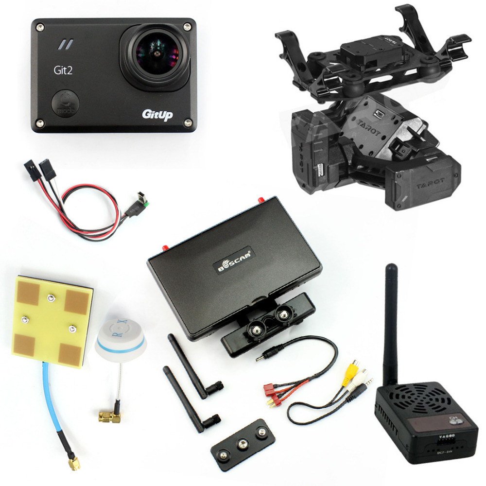 DIY Drone FPV Set with 2000mw Transmitter 7 Inch FPV Monitor T2-2D 2-axis Gimbal Gitup git2 Camera FPV Cable Panel Antenna with two batteries yuneec q500 4k camera with st10 10ch 5 8g transmitter fpv quadcopter drone handheld gimbal case