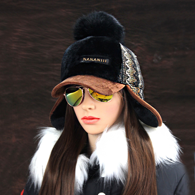 Winter Faux Cashmere Bomber Fur Pompom Snow Hat