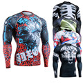 Mens Fitness & Exercise Long Sleeves Compression Shirts 3D Print Shirt MMA Rashgurad Male Tights Bodybuilding Tops Wear for Men