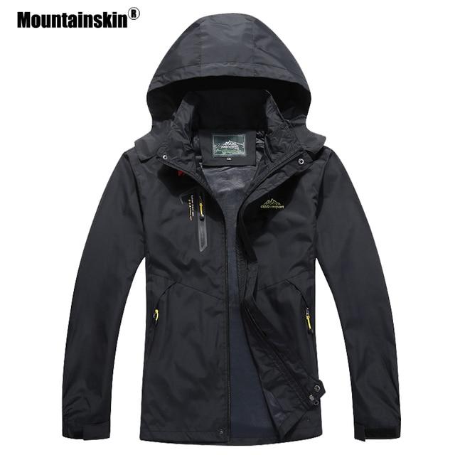 Мужская повседневная куртка Mountainskin, водонепроницаемая ветровка с капюшоном, брендовая одежда, размеры до 5XL, осень 2020