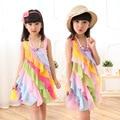 Baby Girl Dress 4-12T Summer 2016 Chiffon Candy Rainbow Toddler Girl Dresses Strap Beach Princess Dress for Girls Clothes